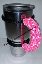 Paracord Handle for 40oz, 30oz, or 20 Yeti, Ozark & ritic. Pink & white pattern