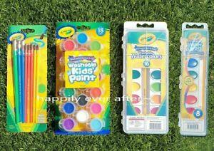 Crayola Washable Kids' Paint Set,  Washable Watercolor Paint, Paint Brush Set
