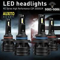 AUXITO 4X 9005+9006 Combo 20000LM LED Headlight Kit HB3 HB4 Hi-Low Beam CSP Bulb