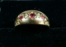 Edwardian 18ct Yellow Gold five stone Diamonds and Rubies Ring. Birmingham 1903