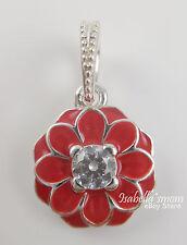ORIENTAL BLOOM Genuine PANDORA Silver/Red Enamel/Cz FLOWER DANGLE Charm/Bead NEW