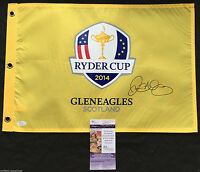 RORY MCILROY SIGNED 2014 RYDER CUP GOLF PIN FLAG 2018 MASTERS PROOF JSA K6