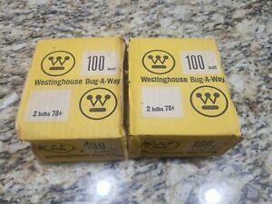 Lot Of 2 Vintage GE 2 100 Watt Bulbs Bug Lite Yellow In Original Packaging New!