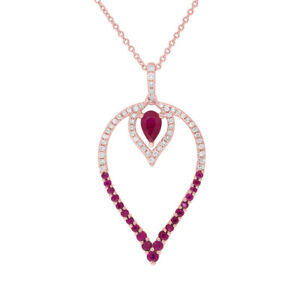 1.09 TCW 14K Rose Gold Natural Pear Ruby Round Diamond Teardrop Pendant Necklace