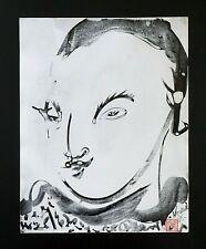 France Outsider Art Ink Painting Japanese Girl Portrait by Claude Vedel (EtJ)#62
