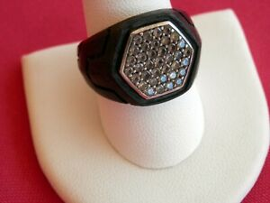 David Yurman Mens Forged Carbon Hexagon Signet Ring w Pave Gray Sapphires $1,900