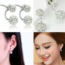 Fashion Dual Disco Ball Dangle Silver Stud Earrings For Women Crystal CZ