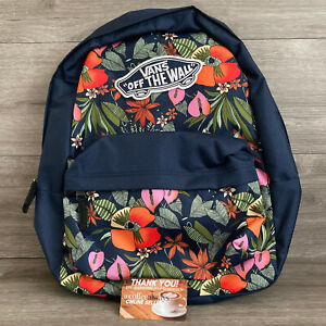 Vans Realm Backpack Navy Blue Floral Tropical Backpack Laptop Sleeve New w/ Tags