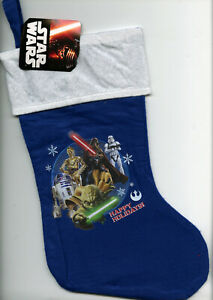 "Star Wars Christmas Christmas Stocking Blue • New / Unused • ""Happy Holidays"""