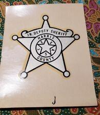 Vtg water decal slide JR. Deputy Sheriff Harris County Badge Houston TX Decals