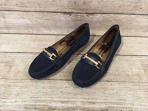 Vionic Womens Blue Suede Horsebit Loafers Sz. 8
