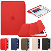 """For Apple iPad 6th 9.7"""" 2018 Ultra Slim Genuine Leather Smart Cover Stand Case"""