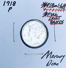 New listing 1918-P Mercury Dime, Full Split Bands, Superb Gem Bu+ Fsb, Rare This Nice! Z1
