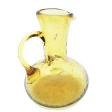 Amber Crackle Art Glass Pitcher Hand Made with Applied Handle