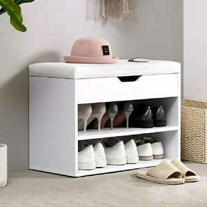 Shoe Bench Shoes Storage Rack Wooden Cabinet Padded Seat Cushion Stool Hallway