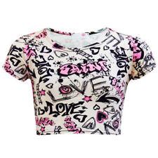 Magliette, maglie e camicie bianche in poliestere con girocollo per bambine dai 2 ai 16 anni