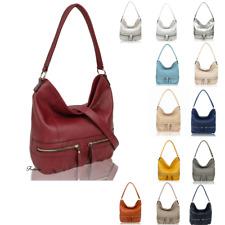 Womens Plain Color Baggy Faux Leather Fashion Handbag Shoulder Tote Hobo Bag