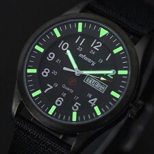 INFANTRY Mens Date Day Quartz Wrist Watch Luminous Sport Military Black Nylon