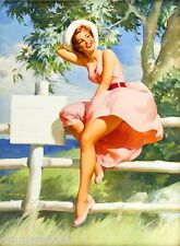 1940s Pin-Up Girl Strolling by the Seashore Picture Poster Print Art Pin Up