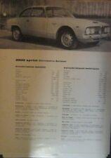 * ALFA ROMEO 2600 Sprint  Caratteristiche Tecniche ORIGINAL  *
