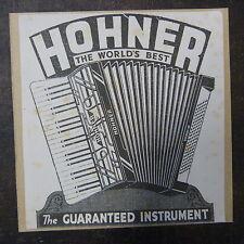 Handcrafted greeting card HOHNER FISARMONICA PUBBLICITARIO, 1930, 15x15cm KRAFT MARRONE