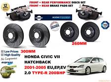 PARA Honda Civic Tipo-r 01-05 Delantero Trasero Rendimiento Juego discos freno +