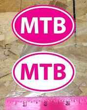 """Mtb Mountain Bike biking sticker decals Hot Pink - 2 for 1 (3-1/2"""")"""