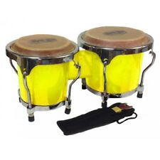 Mano Percussion 4-5″ Inch MP560 Yellow Mini Bongo Drums Pair Natural Skin Bongos