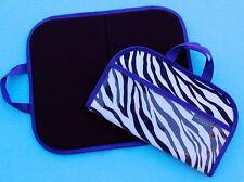 Felt / Flannel Board w/ handles & storage 14.5 X 17 Zebra Print w Purple Trim
