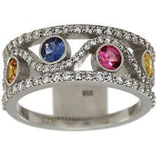 Sapphire Ring Pink Sapphire Blue Sapphire Yellow Sapphire Diamond Ring 14K Gold