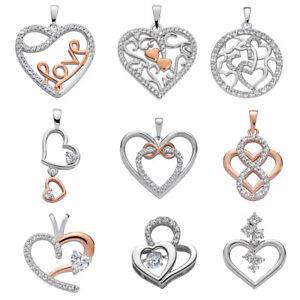 Halskette Kette echt 925 Sterling Silber Herz Anhänger mit Zirkonia für Damen