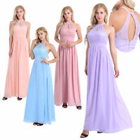 Womens Long Lace Formal Maxi Bridesmaid Dress Evening Party Prom Wedding Ballown