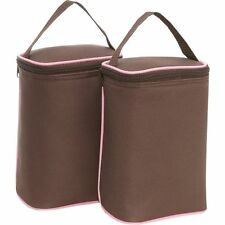 J.L. Childress Tall TwoCOOL 2-Bottle Insulated Tote - Cocoa Pink - Includes Ice