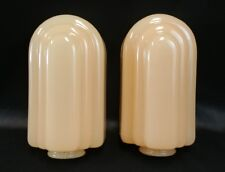 Pair (2) Art Deco Glossy Glass Electric Wall Sconce Slip Shade in Peach