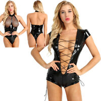 Women Black Bodysuit Sleeveless Clubwear Catsuit Jumpsuit Leather Body Costumes