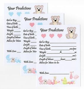 Baby Shower Prediction & Advice Game Cards Size: A6 High Quality!