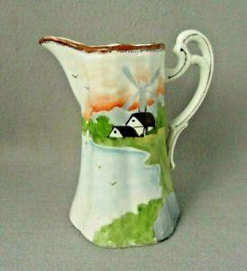 Nippon Tea Pot Windmill Scene Hand Painted Gold Trim