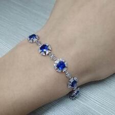 18ct White Gold Natural Royal Blue Sapphire & Diamond Bracelet VS