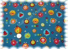 Happy Fruit Feincord petrol Babycord Kord Kinderstoff Meterware 50 cm