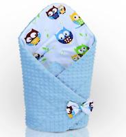 BABY SWADDLE WRAP NEWBORN DIMPLE INFANT BEDDING Blue/Owls Blue