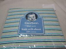 New Gerber One Knit Crib  Cotton Sheet ~ Teal, Green, Grey, Aqua & White Stripes