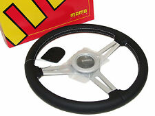 MOMO Steering Wheel - Retro (360mm/Leather/White Stitch/Silver Spoke)