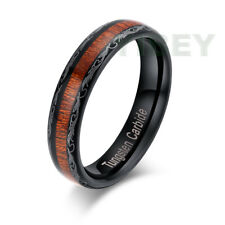 BLACK Tungsten Ring Koa Wood Inlay Grain Leaf Edge Wedding Band Women jewelry