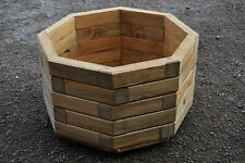 Large Wooden octagonal Pot 44.5 cm Long of Solid Wood Spruce in Light BrownColor