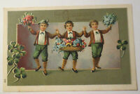"""Geburtstag, Kinder, Kleeblatt, Blumen, Tanzen"" 1909, Prägekarte ♥"