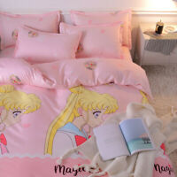 Sailor Moon Anime Christmas Gift  Washed Cotton Bed Sheet Quilt Cover Pillowcase