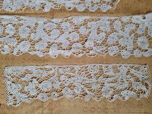 WOW FINE Italian Antique Lace COLLAR hand made 1800s Reticilla cuffs Battenberg