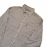 Next Slim Shirt Size Large Striped Brown & Blue Mens Casual Long Sleeve Top