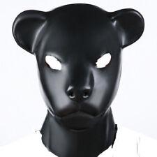 Unisex Latex Leopard Hood with Zipper Eyes open Hood