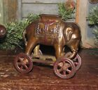 Antique Vtg AC Williams Dime Store Cast Iron Elephant Wheels Penny Bank NR